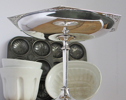 Vintage Tazza silver plated, on pedestal, art deco style-2
