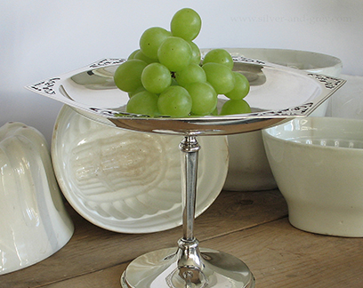 Vintage Tazza silver plated, on pedestal, art deco style-1