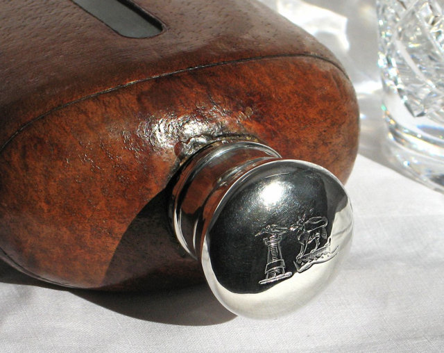 Asprey-antique-leather-hip-flask-silver-mounted-whisky-gift-for-him